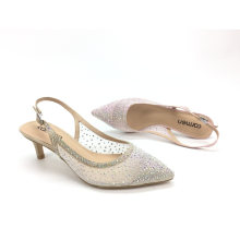 Party Shoes Ladies Women Ab Rhinestone Shoes Pointed Toe Med Heel