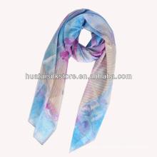 2014 горячий ручной печати шелковый шифон леди шарф
