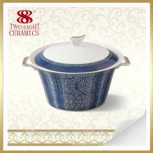 Sopera de porcelana esmaltada, porcelana de vajilla, tapa de tazón de sopa de cerámica y mango