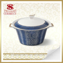 Застекленная фарфоровые супницы, посуда фарфор, керамика суп чаша с крышкой и ручкой