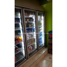 Supermarket glass door display cold storage for drinks