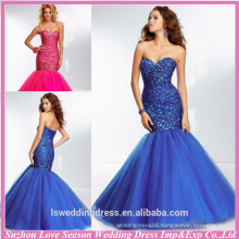 HE2134 New designs royal blue sweetheart neck sparkly beaded diamond top mermaid/trumpet tulle evening sequins beaded dresses