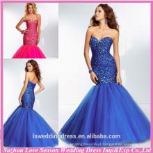 HE2134 Novos designs de cerejeira de corações azuis reais sparkly frisado de diamante top sereia / trompete de tul e lantejoulas da noite vestidos com contas