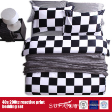 133*72 Printed Black White Bedding Sheet for Hotel/Home Use
