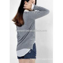 Vente chaude brillante machine gris fait crochet conception de chandail pour les filles