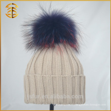 2017 Chine Fabricant Knit Style Winter Raccoon Fur Poms Hat