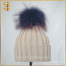 2017 China Manufacturer Knit Style Winter Raccoon Fur Poms Hat