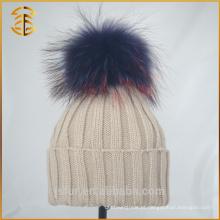 Venda Por Atacado China Unisex Adult Pompom Knit Guaxinim Fur Pom Hat