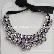 Lady Fashion Charm Glas Kristall Anhänger Kragen Halskette Schmuck (JE0213)