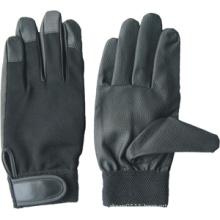 Black PU Palm Spandex Back Mechanic Work Glove