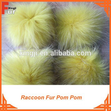 Pom Pom for hats, raccoon fur, 13CM