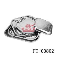 Quadrado de aço inoxidável servindo prato (FT-00802)