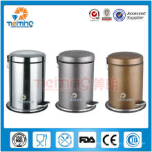 18/0 stainless steel foot pedal rubbish bin with PU surface