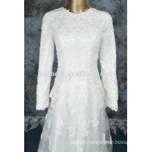 Langes Hülsenhochzeitskleid für moslemische Frauen Arabisches 2016 Hijab langes Hülsenapplique Chiffon- Dubai-moslemisches Hochzeits-Kleid