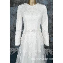 Long Sleeve wedding dress for muslim women Arabic 2016 Hijab Long Sleeve Applique Chiffon Dubai Muslim Wedding Dress
