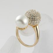 Mode féminine claire strass boule de cristal grande perle bagues en gros vente chaude
