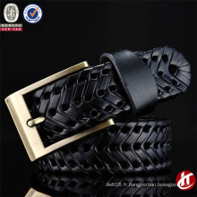 Tissu à la main unisexe de haute qualité en cuir véritable tressé Ceinture en cuir véritable avec prix d'usine