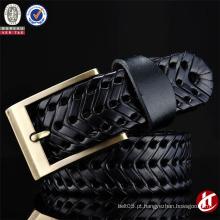 High Quality Unisex Handmade tecido trançado couro genuíno cinto com preço de fábrica
