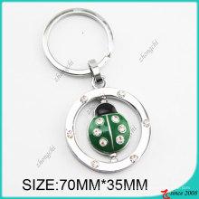 Chaveiro verde do metal da forma do joaninha do esmalte (KC)