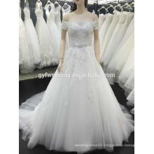 Alibaba Online Hot Sale Appliqued Off the Shoulder Short Sleeve Tulle White Wedding Dress 2015 Bridal Gown Y12-5