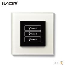 Interruptor de iluminación de 3 pandillas Marco de cristal para panel táctil (HR1000-GL-L3)