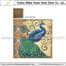 Tissu de lin imprimé Peacock pour décoration intérieure