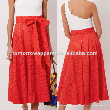 New Fashion Red Broderie Anglaise Beach Summer Mini Daily Skirt DEM/DOM Manufacture Wholesale Fashion Women Apparel (TA5033S)