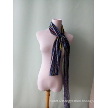 New Chromatic Stripe Chiffon Crushed Scarf Ties