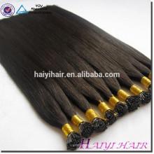 Cabelo liso 1g da ponta do queratina de Prebonded / extensões 100g / pack humanas do cabelo reto das extensões 9A do cabelo da fusão da costa