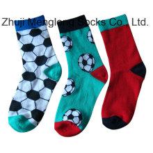 Hochwertiger Jacquard Strick jungen Baumwolle Socken Fußball Designs