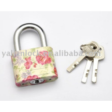 flower painted side round padlock