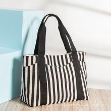 Manufacturer Fashion Women′ S Handbags Striped Canvas Bags Women′ S Single Shoulder Bags Ladies Tote Mummy Canvas Bags