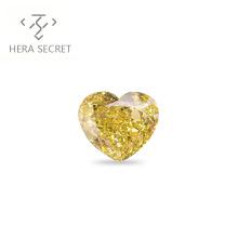 ForeverFlame fancy yellow 3.5ct 9.6mm*8mm vvs Heart Cut diamond CVD CZ Moissanite 18k fashion ring