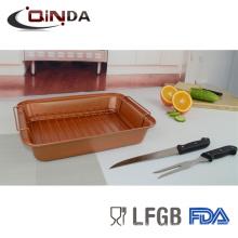 Asador de hornear con revestimiento antiadherente de acero al carbono con asa para parrilla, cuchillo de 8 '', horquilla de 7.5 ''