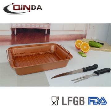 Carbon Steel Antihaftbeschichtung Backrost mit Grillrostpfanne, 8 '' Messer, 7,5 '' Gabel