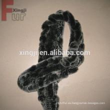 bufanda de piel de conejo rex tejida
