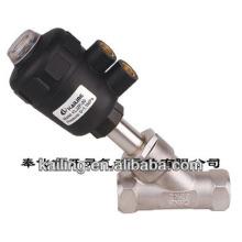 Válvula de assento angular de pistão de 2/2 vias para líquidos e gases neutros e agressivos