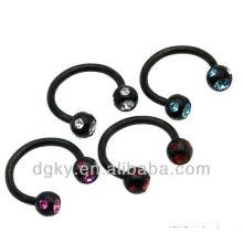 Multi CZ Black titânio anel de ferradura anéis prisioneiros talão