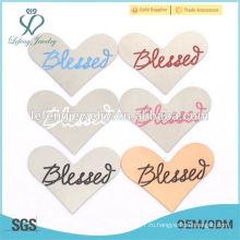 Мода из нержавеющей стали эмаль синий / розовый / черный / белый цвет Благословил письмо сердца пластин украшения