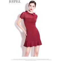 Verão Mulheres Novas Europeu Minimalista Temperamento Rodada Vestido Slim Flounced Vestido Moda Mulheres Design