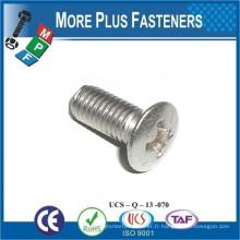Fabriqué en Taiwan ISO 7047 Philips Oval Head Countersunk Grade 4 8 Carbon Steel Zinc plaqué