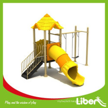 Small Kids playground equipment for kindergarten, outdoor plastic slide and swing