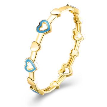 Corazón imitación de oro imitación pulsera brazalete pulsera corazón azul