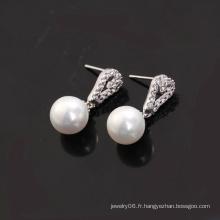 Boucle d'oreille en perles et zircon en perles de rhodium plaqué (20607)