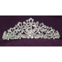 Alta calidad aleación de moda de cristal brillante de encargo nupcial de la boda de la corona de la tiara