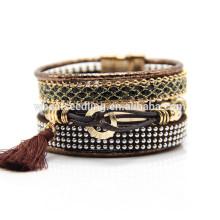 Misturado estilo genuíno handmade personalizado jóias de cristal de couro pulseira trançada