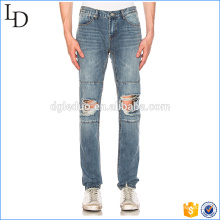 Washed panel jeans hig waisted ripped jeans destoryed on knee