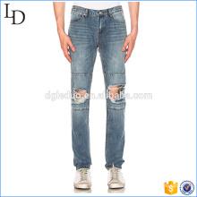 Calça jeans lavada de painel hig jeans rasgados cintura destorida no joelho