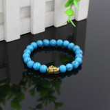 hot selling wholesale blue turquoise natural stone beaded bracelet,buddha head charm elastic bead bracelet jewelry RB2269
