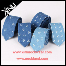 Amazing Handprinted Anchor Silk Cotton Jean Mens Neck Ties